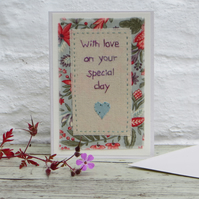 Hand-stitched textile for a special day - a card to keep!