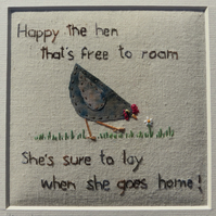 Happy Little Hen framed hand-stitched original work, a gift to last a lifetime!
