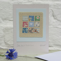 Little Heart Patchwork, sweet little hand-stitched card for someone you love