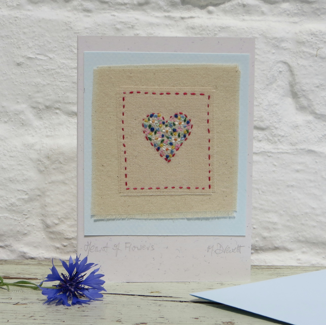 Delicately hand-stitched heart of flowers - a card to keep