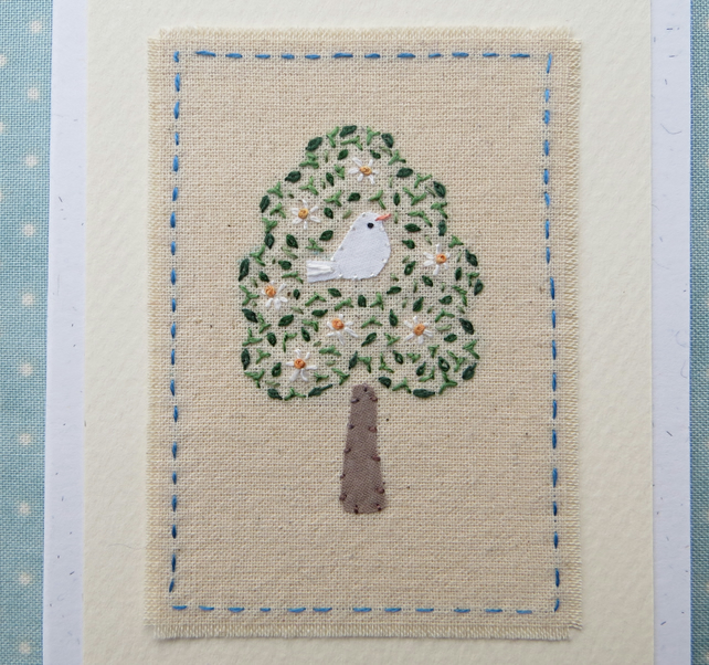 Bird in a Tree hand embroidered card delicate detailed work - a card to keep!