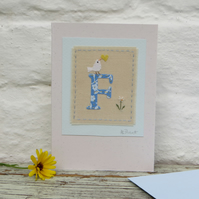 Sweet little hand-stitched letter F - New Baby, Christening or Birthday
