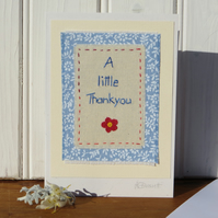 Sweet little hand-stitched thank you card made with care, applique flower too!