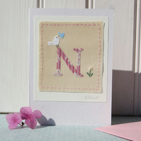 Sweet little hand-stitched letter N - new baby, Christening or birthday