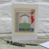 A Little Beehive hand-stitched card with embroidered bees and flowers