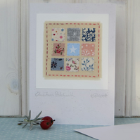 Christmas Patchwork, hand-stitched miniature with white star, delicate, pretty!