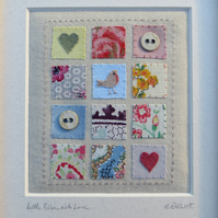 Little Robin with Love, vintage fabrics, can be personalised with inscription