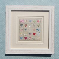 Little Buttons and Bows, pretty hand-stitched framed miniature - lovely gift!