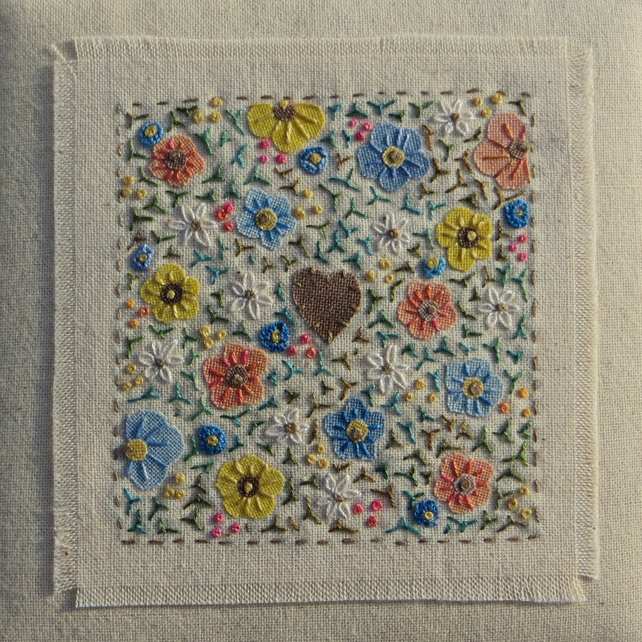 Tiny Flowers, hand-stitched miniature framed embroidery, a gift never forgotten