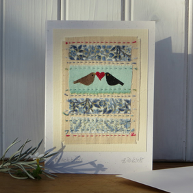 Hand-stitched card, tiny applique blackbirds, hand-dyed cotton, pretty prints
