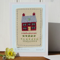 Old Farmhouse hand-stitched miniature mounted onto card with flowers and veg!