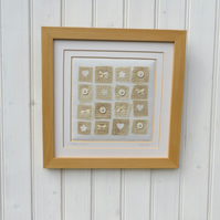 Buttons and Bows, hand-stitched, framed, vintage fabrics and buttons, silk bows