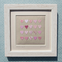 Little Pink Hearts framed hand-stitched textile New Baby, Christening, nursery
