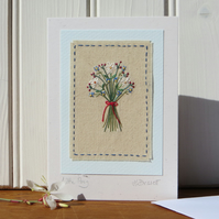 Little Posy hand-stitched freestyle embroidery on card, delicate, a card to keep