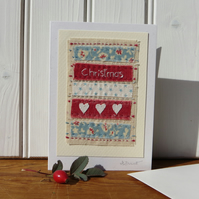 Hand-stitched Christmas card with three little hearts and pretty fabrics
