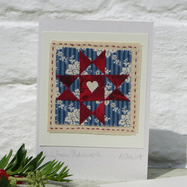 Miniature applique 'patchwork' hand-stitched and sparkly!
