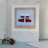 Santa's Boots! Miniature hand-stitched textile mounted on recycled card