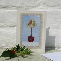Partridge in a Pear Tree, sweet hand-stitched miniature on Christmas card