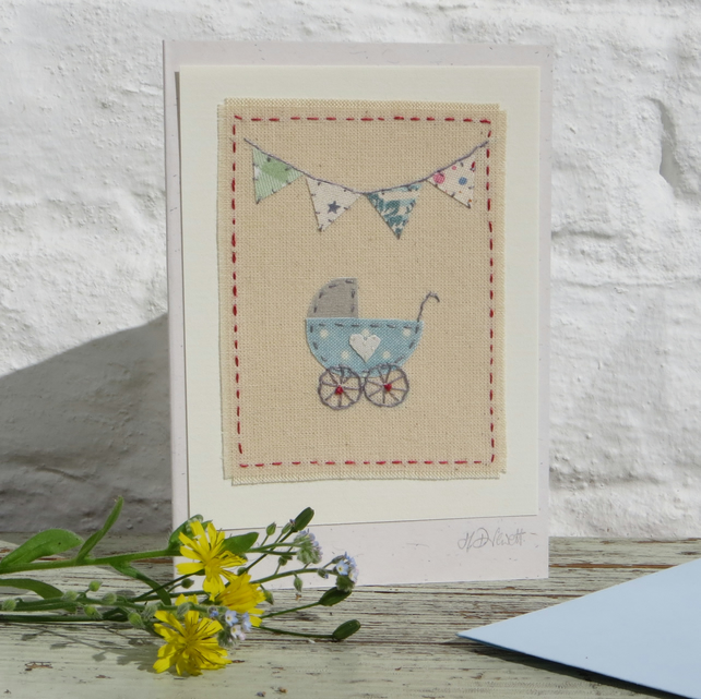 Hand-stitched new baby card, Christening, welcome to the world!