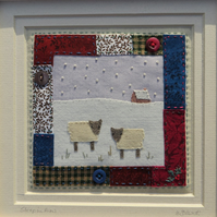 Sheep in Snow small framed hand-stitched textile -  nursery wall ?