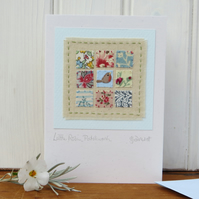 Little Robin Patchwork mini hand-stitch mounted on card - a  tiny treasure!
