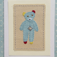 Small teddybear hand-stitched card for baby or child, a card to keep!
