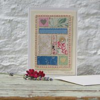 Vintage fabrics hand-stitched card, unique, old lace, mother of pearl button