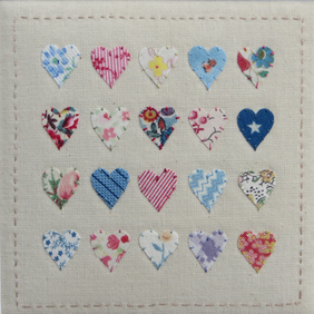 Lots of Love, small framed hand-stitched vintage fabrics, unique gift forever