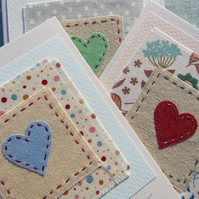 Three hand-stitched heart cards to send to loved ones, birthday, anytime!