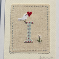 Sweet little hand-stitched letter I new baby, birthday or Christening