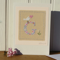 Sweet little hand-stitched letter G - New Baby, Christening or Birthday