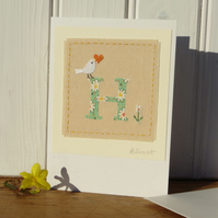 Sweet little hand-stitched letter H new baby, birthday or Christening