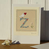 Sweet little hand-stitched letter Z new baby, birthday or Christening