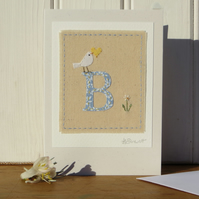 Sweet little hand-stitched letter B new baby, birthday or Christening