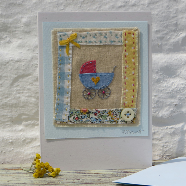 Little pram embroidery on card to welcome a new baby, boy or girl