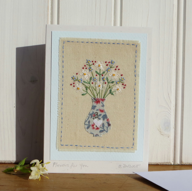 Flowers for You - freely stitched hand-embroidered card for any occasion