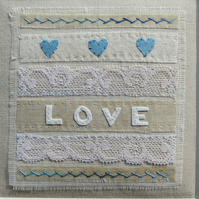 Hand-stitched Love sampler vintage fabrics heirloom gift for many occasions
