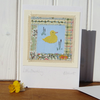Little Duckling hand-stitched card, early years birthday card, or any age!