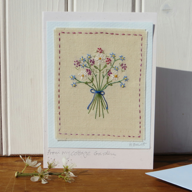 Hand embroidered posy of cottage garden flowers, delicate, freely stitched