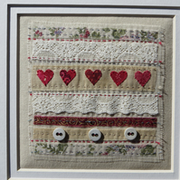 Little Red Hearts Sampler small hand-stitched framed textile, a gift of love