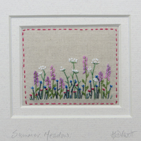 'Summer Meadow' hand-stitched framed miniature, detailed, summer birthday gift