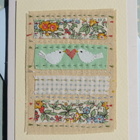 Sweet little hand-stitched card with two doves, heart and Liberty print fabric
