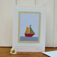 Little Sailboat hand-stitched mini textile on card, detailed, hand-dyed fabrics