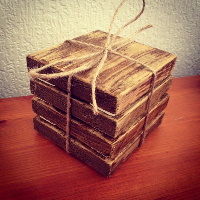 Set of 4 handmade rustic wooden coasters for dr folksy for Handmade drink coasters