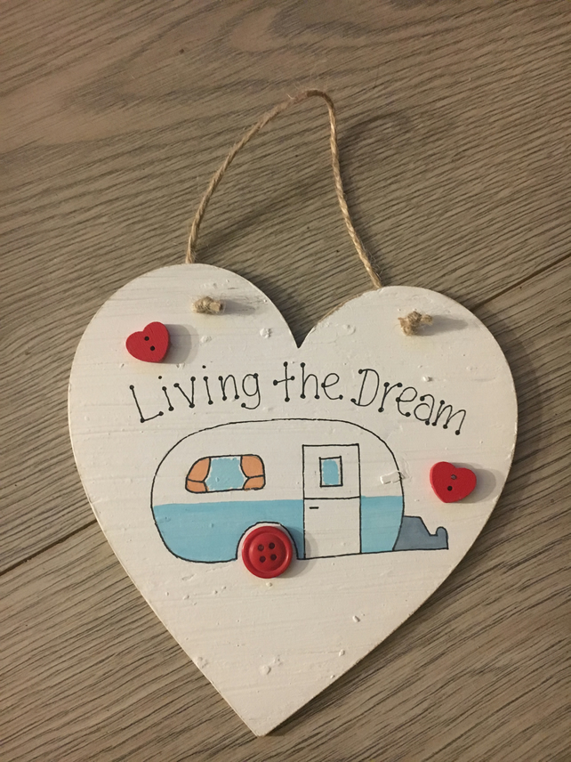 Caravan Sign Shabby Chic Style Handmade from Wood