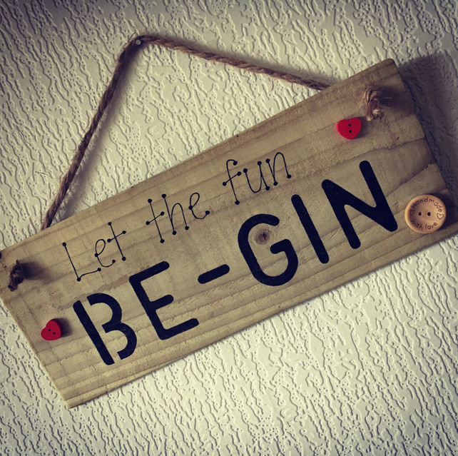 Handmade Rustic Hanging Sign for Gin Lovers