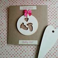 baby girl card, just born card, new baby card, rustic baby girl card, new baby