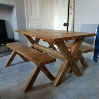 rustic dining table and benches 6x3 or any other size