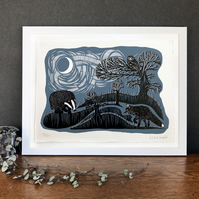 Limited Edition Screenprint : Moonlit Badger