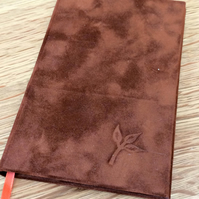 Hardback slim brown velvet effect notebook with debossed leaf
